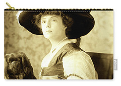 Vintage Lady With Lapdog Carry-all Pouch by Marian Cates