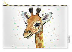 Baby Giraffe Watercolor With Heart Shaped Spots Carry-all Pouch by Olga Shvartsur