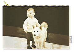 Sweet Vintage Toddler With His White Mutt Carry-all Pouch