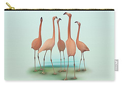 Carry-all Pouch featuring the painting Flamingo Mingle by Ivana Westin