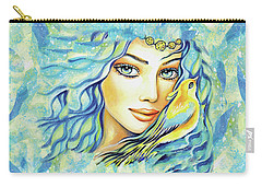 Carry-all Pouch featuring the painting Bird Of Secrets by Eva Campbell
