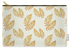 Carry-all Pouch featuring the mixed media Gold Fern Leaf Art by Christina Rollo