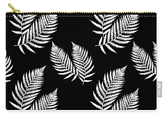 Carry-all Pouch featuring the mixed media Fern Pattern Black And White by Christina Rollo