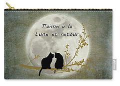 Carry-all Pouch featuring the digital art T'aime A La Lune Et Retour by Linda Lees