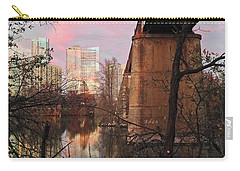 Austin Hike And Bike Trail - Train Trestle 1 Sunset Triptych Middle Carry-all Pouch by Felipe Adan Lerma