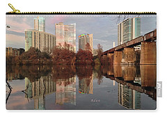 Austin Hike And Bike Trail - Train Trestle 1 Sunset Triptych Left Carry-all Pouch by Felipe Adan Lerma