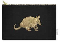 Gold Armadillo On Black Canvas Carry-all Pouch by Serge Averbukh