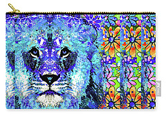Carry-all Pouch featuring the painting Beauty And The Beast - Lion Art - Sharon Cummings by Sharon Cummings
