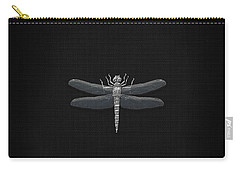 Carry-all Pouch featuring the digital art Silver Dragonfly On Black Canvas by Serge Averbukh