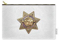 Carry-all Pouch featuring the digital art Marin County Sheriff Department - Deputy Sheriff Badge Over White Leather by Serge Averbukh