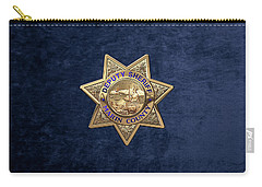 Carry-all Pouch featuring the digital art Marin County Sheriff's Department - Deputy Sheriff's Badge Over Blue Velvet by Serge Averbukh