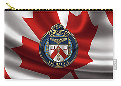 Carry-all Pouch featuring the digital art Toronto Police Service  -  T P S  Emblem Over Canadian Flag by Serge Averbukh
