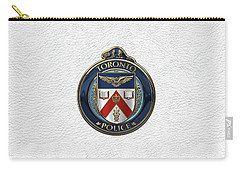 Carry-all Pouch featuring the digital art Toronto Police Service  -  T P S  Emblem Over White Leather by Serge Averbukh