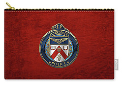 Carry-all Pouch featuring the digital art Toronto Police Service  -  T P S  Emblem Over Red Velvet by Serge Averbukh
