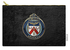 Carry-all Pouch featuring the digital art Toronto Police Service  -  T P S  Emblem Over Black Velvet by Serge Averbukh
