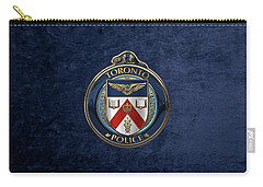 Carry-all Pouch featuring the digital art Toronto Police Service  -  T P S  Emblem Over Blue Velvet by Serge Averbukh