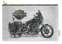 Carry-all Pouch featuring the digital art Harley-davidson Motorcycle With 3d Badge Over Vintage Patent by Serge Averbukh