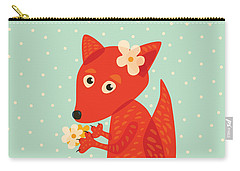 Cute Pretty Fox With Flowers Carry-all Pouch