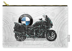 Carry-all Pouch featuring the digital art 2016 Bmw-k1600gt Motorcycle With 3d Badge Over Vintage Blueprint  by Serge Averbukh