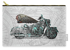 Carry-all Pouch featuring the digital art 2017 Indian Chief Classic Motorcycle With 3d Badge Over Vintage Blueprint  by Serge Averbukh