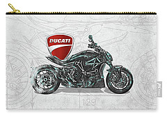 Carry-all Pouch featuring the digital art 2017 Ducati Xdiavel-s Motorcycle With 3d Badge Over Vintage Blueprint  by Serge Averbukh