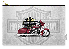 Carry-all Pouch featuring the digital art 2017 Harley-davidson Street Glide Special Motorcycle With 3d Badge Over Vintage Background  by Serge Averbukh