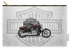 Carry-all Pouch featuring the digital art 2017 Harley-davidson V-rod Muscle Motorcycle With 3d Badge Over Vintage Background  by Serge Averbukh