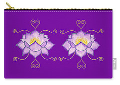 Carry-all Pouch featuring the mixed media Purple Lotus by Elizabeth Lock