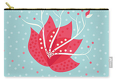 Exotic Pink Flower And Dots Carry-all Pouch