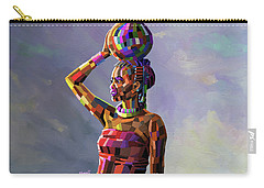 Girl Carrying Water Carry-all Pouch by Anthony Mwangi