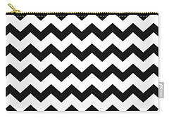 Carry-all Pouch featuring the mixed media Black White Geometric Pattern by Christina Rollo