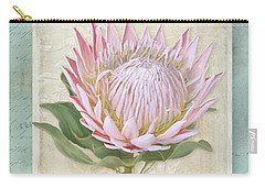 Carry-all Pouch featuring the painting King Protea Blossom - Vintage Style Botanical Floral 1 by Audrey Jeanne Roberts
