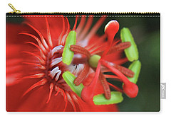 Carry-all Pouch featuring the photograph Passiflora Vitifolia Scarlet Red Passion Flower by Sharon Mau