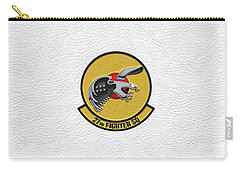 Carry-all Pouch featuring the digital art 27th Fighter Squadron - 27 Fs Patch Over White Leather by Serge Averbukh