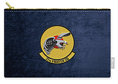Carry-all Pouch featuring the digital art 27th Fighter Squadron - 27 Fs Over Blue Velvet by Serge Averbukh