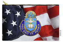 Carry-all Pouch featuring the digital art U.s. Army Chaplain Corps - Regimental Insignia Over American Flag by Serge Averbukh