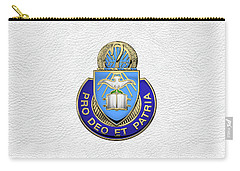 Carry-all Pouch featuring the digital art U.s. Army Chaplain Corps - Regimental Insignia Over White Leather by Serge Averbukh