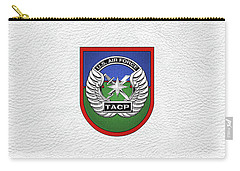 Carry-all Pouch featuring the digital art U. S.  Air Force Tactical Air Control Party -  T A C P  Beret Flash With Crest Over White Leather by Serge Averbukh