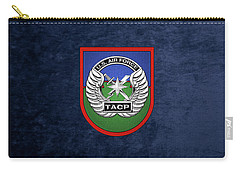 Carry-all Pouch featuring the digital art U. S.  Air Force Tactical Air Control Party -  T A C P  Beret Flash With Crest Over Blue Velvet by Serge Averbukh