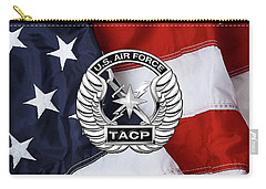 Carry-all Pouch featuring the digital art U. S.  Air Force Tactical Air Control Party -  T A C P  Badge Over American Flag by Serge Averbukh