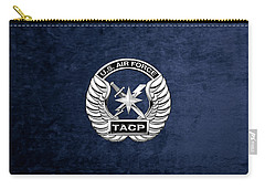 Carry-all Pouch featuring the digital art U. S.  Air Force Tactical Air Control Party -  T A C P  Badge Over Blue Velvet by Serge Averbukh
