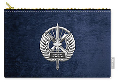 Carry-all Pouch featuring the digital art U.s. Air Force Tactical Air Control Party - Special Tactics Tacp Crest Over Blue Velvet by Serge Averbukh