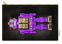 Star Strider Robot Purple On Black Carry-all Pouch by YoPedro