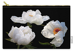 Raindrops On White Tree Peonies Carry-all Pouch by Gill Billington