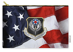 Air Force Special Operations Command -  A F S O C  Shield Over American Flag Carry-all Pouch by Serge Averbukh