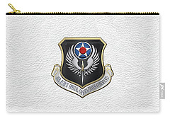 Air Force Special Operations Command -  A F S O C  Shield Over White Leather Carry-all Pouch by Serge Averbukh