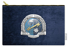 U. S.  Air Force Combat Control Teams - Combat Controller C C T Badge Over Blue Velvet Carry-all Pouch by Serge Averbukh