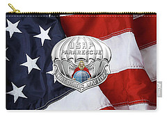 U. S.  Air Force Pararescuemen - P J Badge Over American Flag Carry-all Pouch by Serge Averbukh