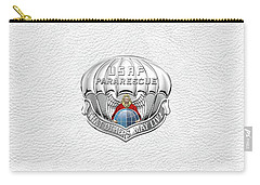 U. S.  Air Force Pararescuemen - P J Badge Over White Leather Carry-all Pouch by Serge Averbukh