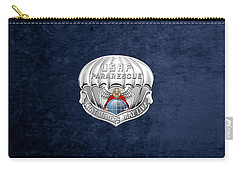 U. S.  Air Force Pararescuemen - P J Badge Over Blue Velvet Carry-all Pouch by Serge Averbukh